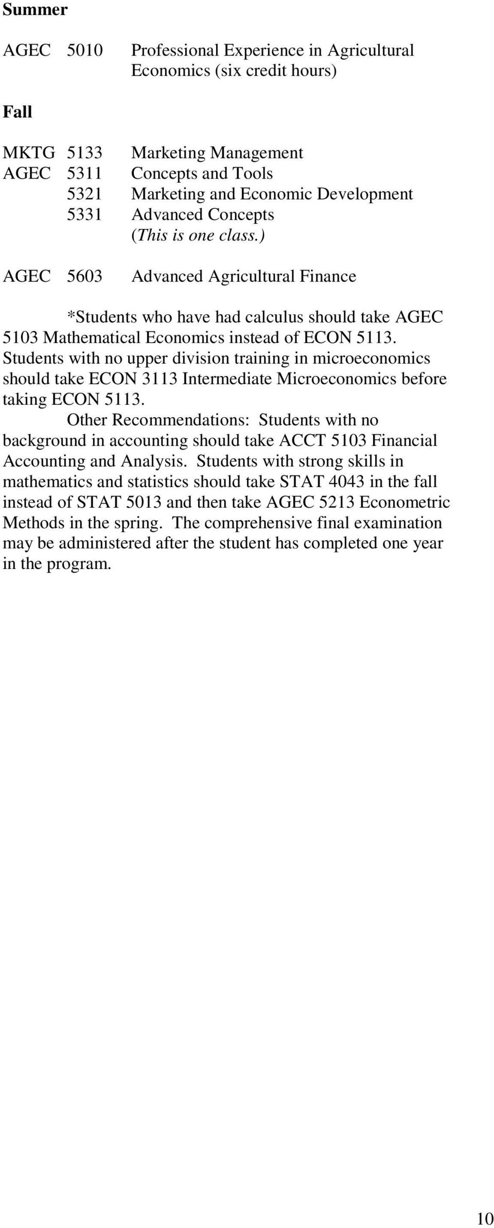 Students with no upper division training in microeconomics should take ECON 3113 Intermediate Microeconomics before taking ECON 5113.