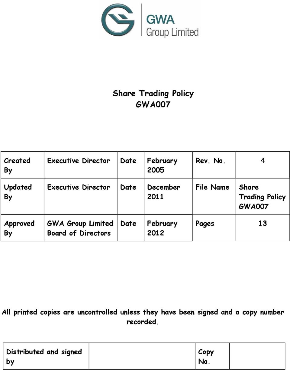 Approved By GWA Group Limited Board of Directors Date February 2012 Pages 13 All printed
