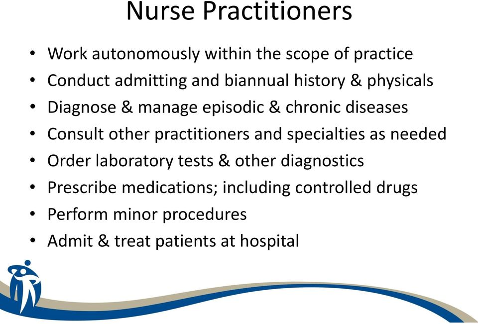 practitioners and specialties as needed Order laboratory tests & other diagnostics Prescribe