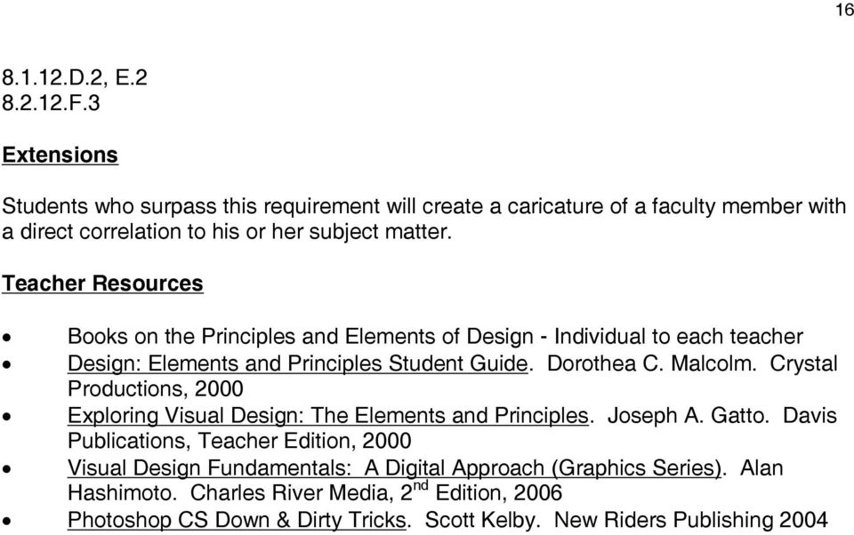 Teacher Resources Books on the Principles and Elements of Design - Individual to each teacher Design: Elements and Principles Student Guide. Dorothea C. Malcolm.