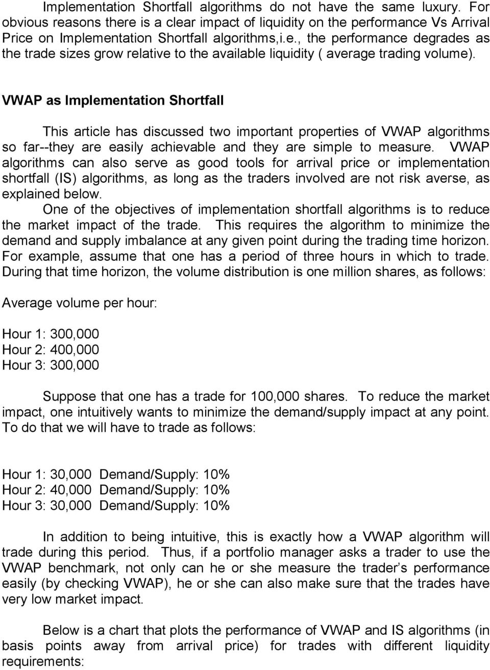 VWAP as Implementation Shortfall This article has discussed two important properties of VWAP algorithms so far--they are easily achievable and they are simple to measure.