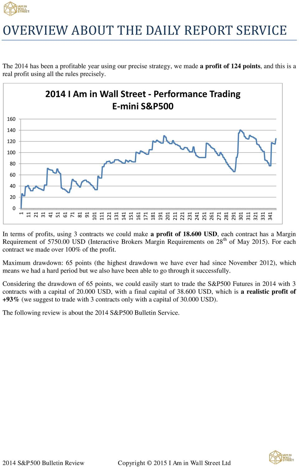 160 2014 I Am in Wall Street - Performance Trading E-mini S&P500 140 120 100 80 60 40 20 0 In terms of profits, using 3 contracts we could make a profit of 18.