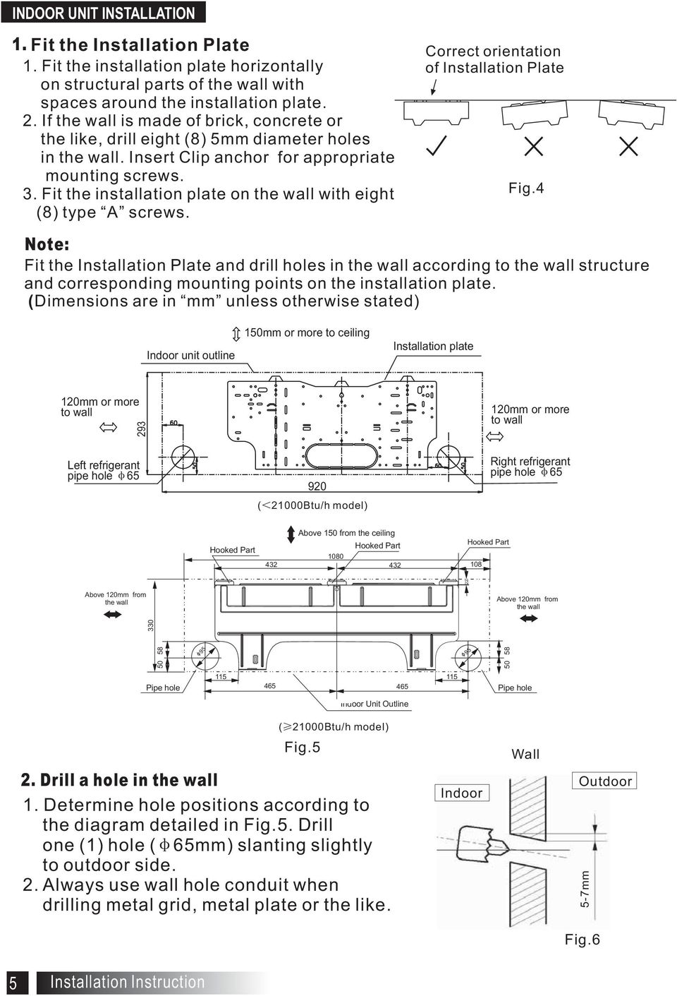 Correct orientation of Installation Plate Fig4 Note: Fit the Installation Plate and drill holes in the wall according to the wall structure and corresponding mounting points on the installation plate