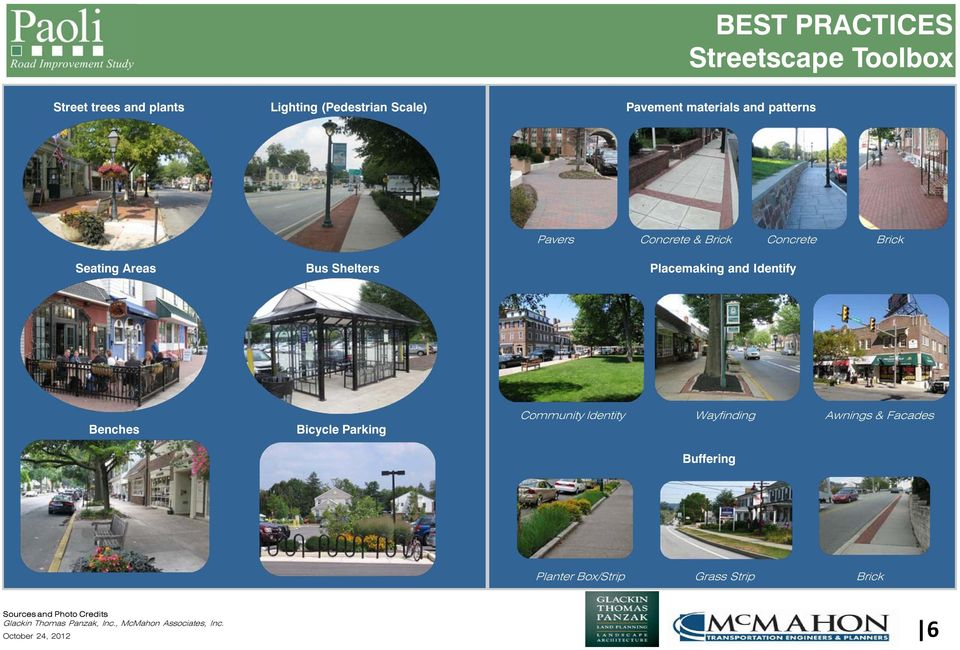 Identify Benches Bicycle Parking Community Identity Wayfinding Awnings & Facades Buffering