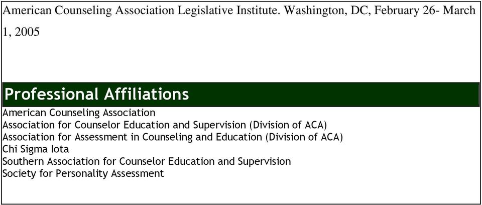 Association for Counselor Education and Supervision (Division of ACA) Association for Assessment in