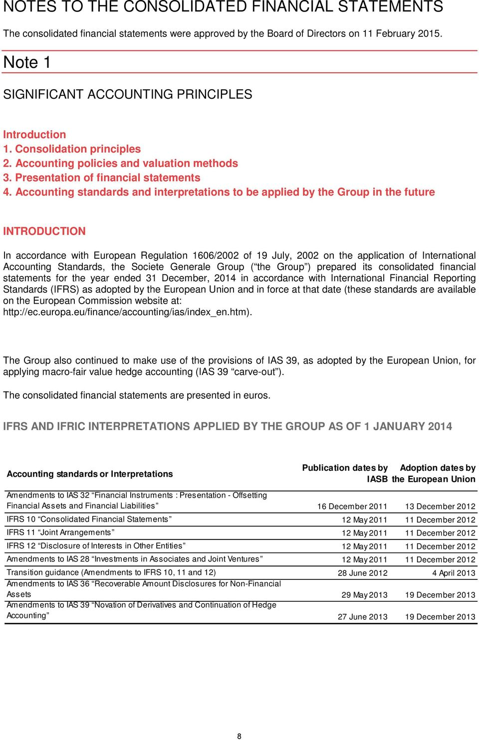 Accounting standards and interpretations to be applied by the Group in the future INTRODUCTION In accordance with European Regulation 1606/2002 of 19 July, 2002 on the application of International