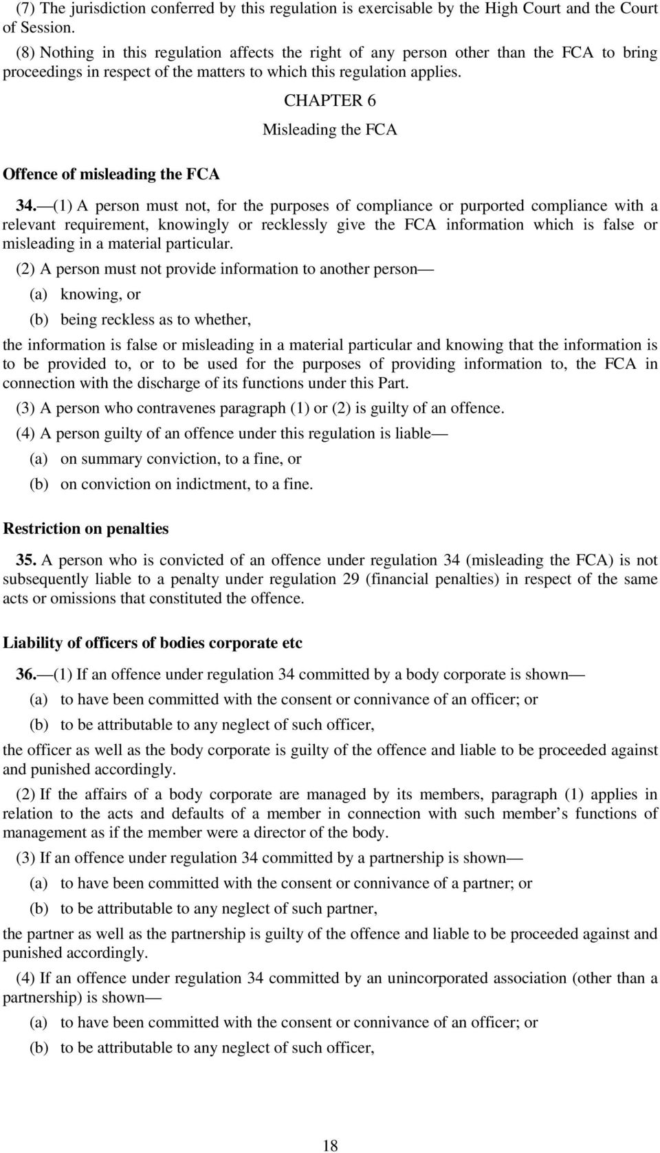 Offence of misleading the FCA CHAPTER 6 Misleading the FCA 34.