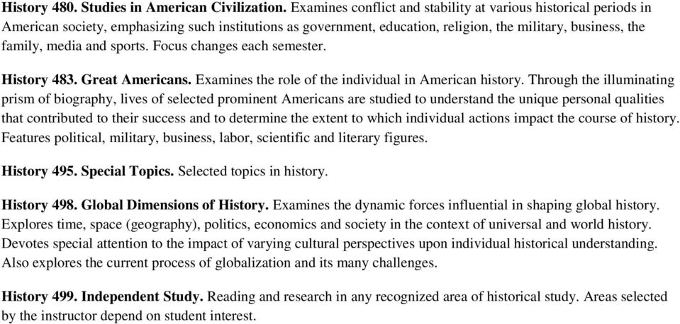 sports. Focus changes each semester. History 483. Great Americans. Examines the role of the individual in American history.