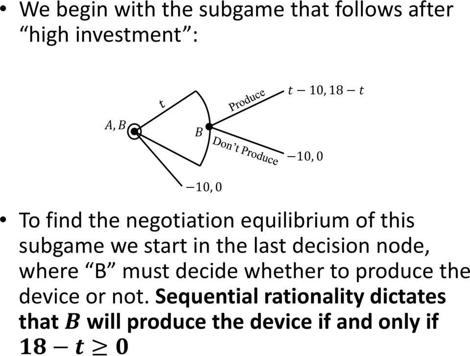 last decision node, where B must decide whether to produce the device or