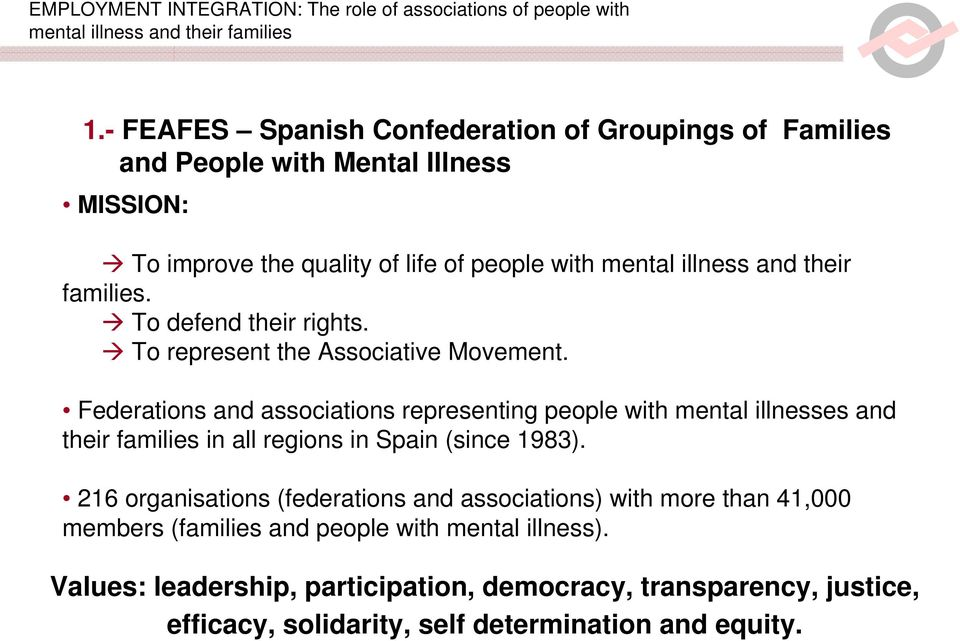 Federations and associations representing people with mental illnesses and their families in all regions in Spain (since 1983).