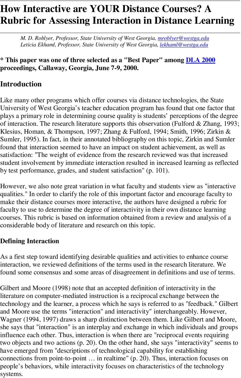 "edu * This paper was one of three selected as a ""Best Paper"" among DLA 2000 proceedings, Callaway, Georgia, June 7-9, 2000."