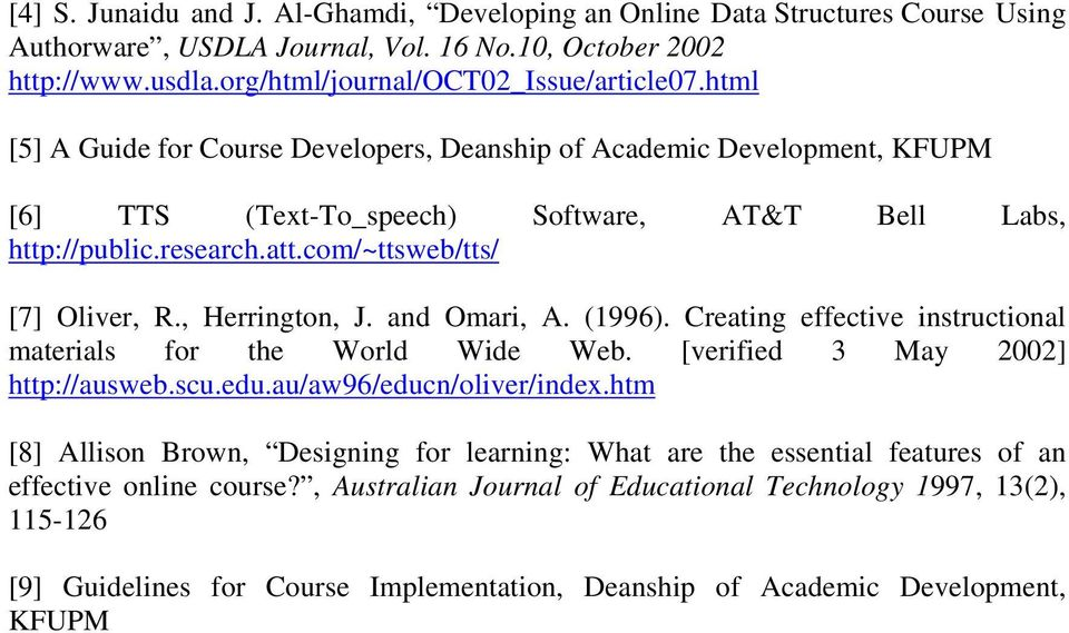 , Herrington, J. and Omari, A. (1996). Creating effective instructional materials for the World Wide Web. [verified 3 May 2002] http://ausweb.scu.edu.au/aw96/educn/oliver/index.