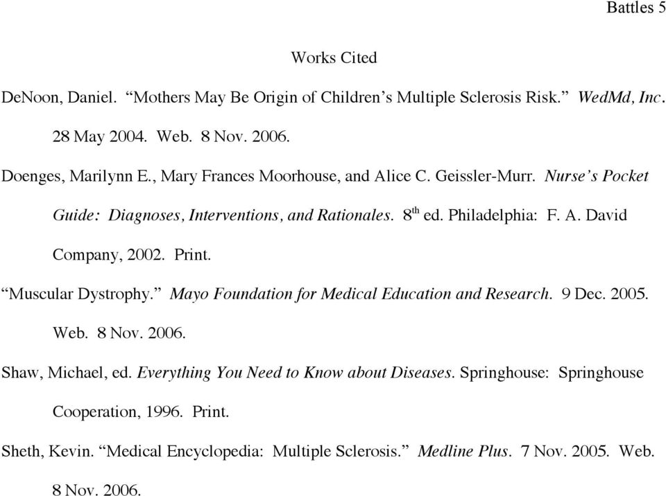 Print. Muscular Dystrophy. Mayo Foundation for Medical Education and Research. 9 Dec. 2005. Web. 8 Nov. 2006. Shaw, Michael, ed.