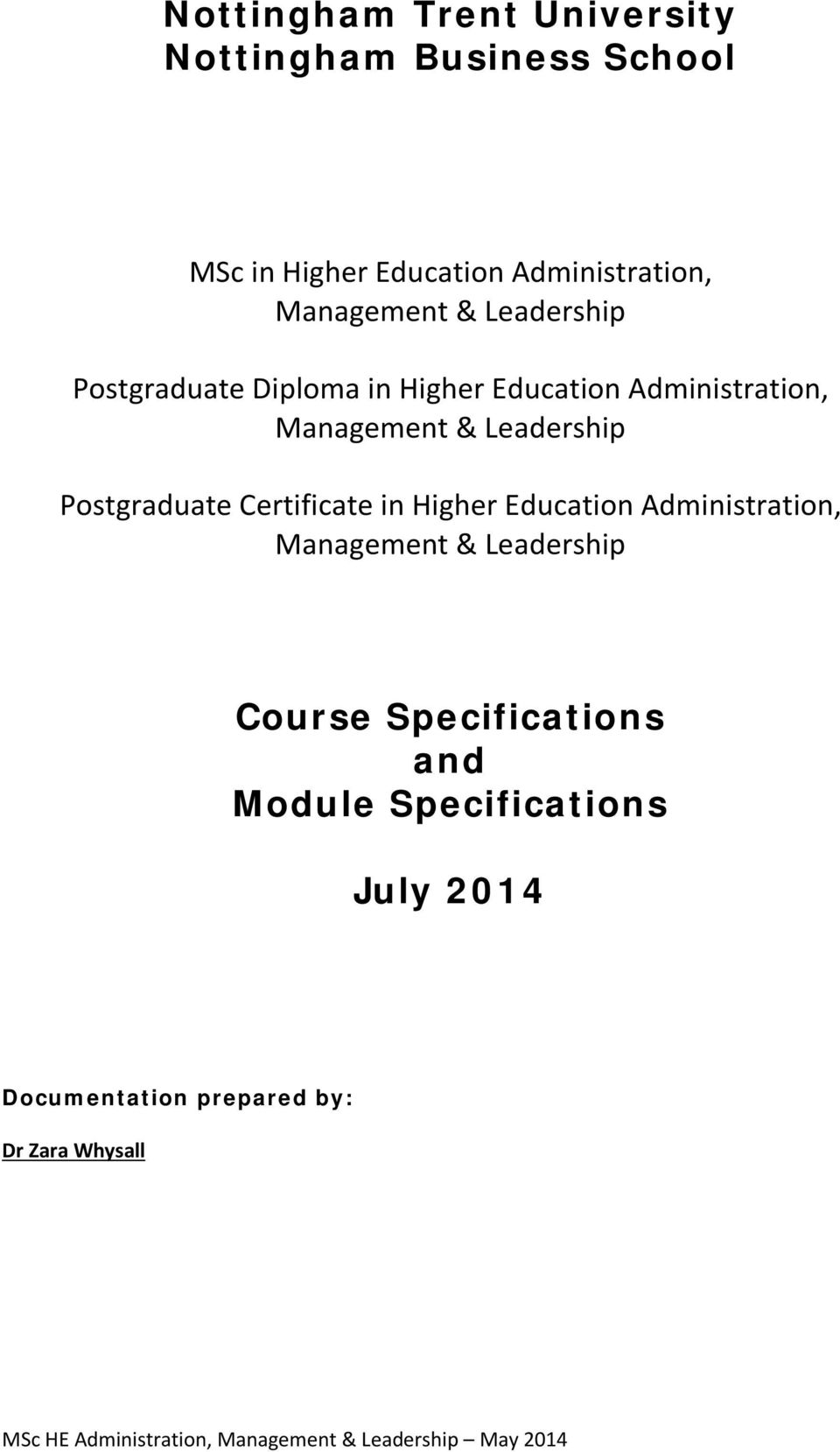 Certificate in Higher Education Administration, Management & Leadership Course Specifications and Module