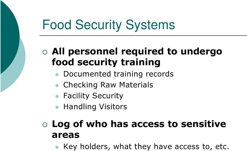 Materials Facility Security Handling Visitors Log of who has