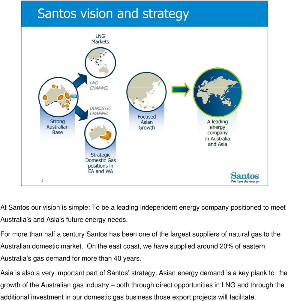On the east coast, we have supplied around 20% of eastern Australia s gas demand for more than 40 years. Asia is also a very important part of Santos strategy.