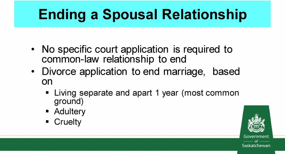 end Divorce application to end marriage, based on