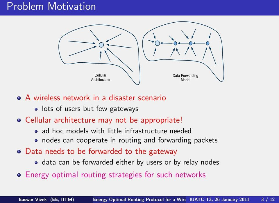 ad hoc models with little infrastructure needed nodes can cooperate in routing and forwarding packets Data needs to be forwarded to