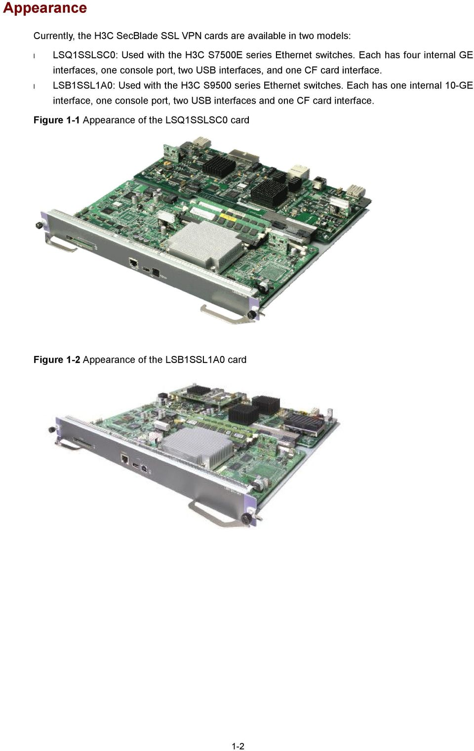 LSB1SSL1A0: Used with the H3C S9500 series Ethernet switches.
