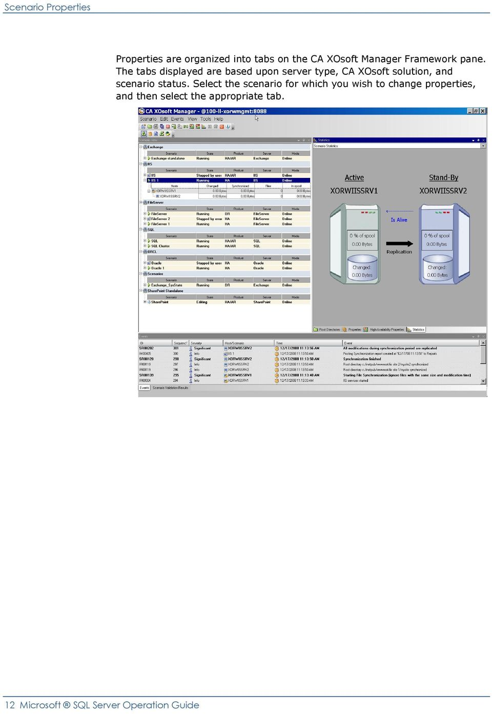 The tabs displayed are based upon server type, CA XOsoft solution, and scenario