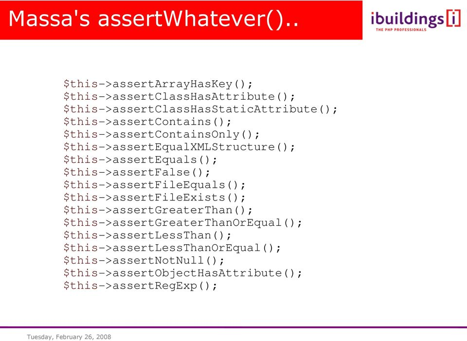 $this->assertcontainsonly(); $this->assertequalxmlstructure(); $this->assertequals(); $this->assertfalse();