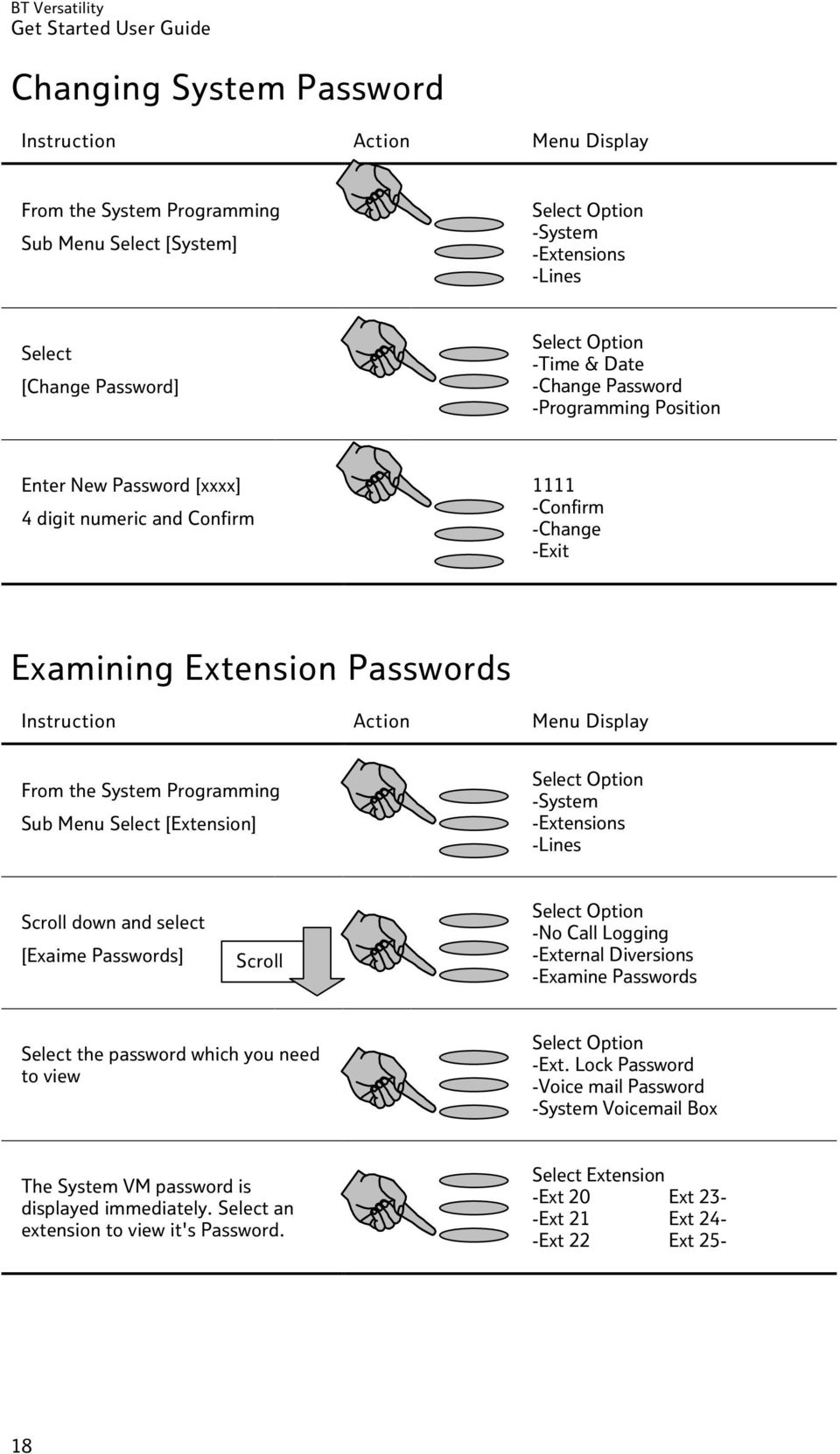 -Extensions -Lines Scroll down and select [Exaime Passwords] Scroll -No Call Logging -External Diversions -Examine Passwords Select the password which you need to view -Ext.
