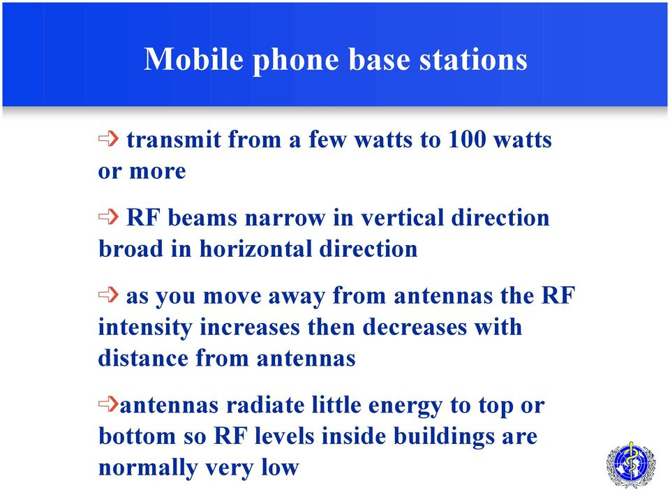 antennas the RF intensity increases then decreases with distance from antennas