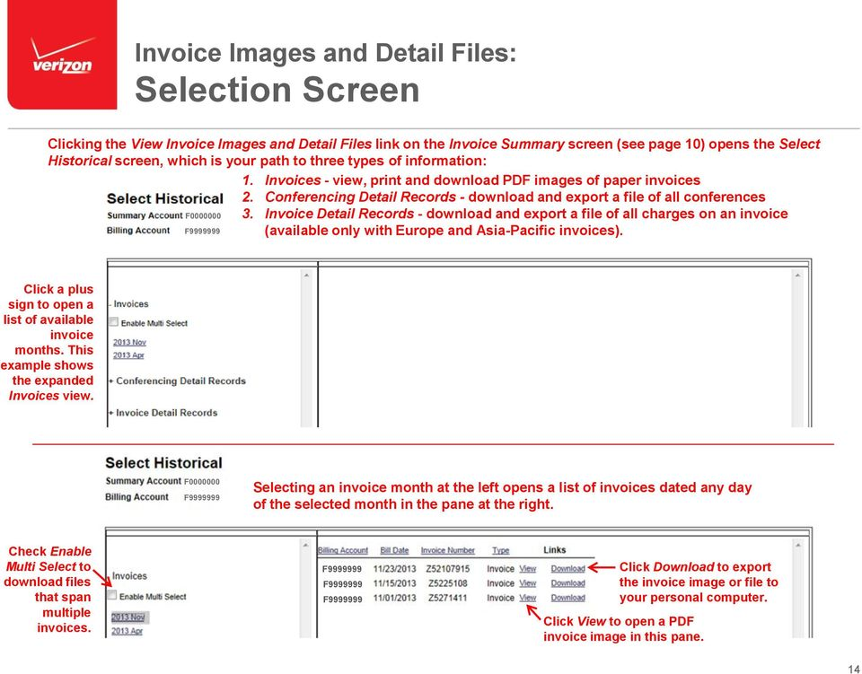 Invoice Detail Records - download and export a file of all charges on an invoice (available only with Europe and Asia-Pacific invoices). Click a plus sign to open a list of available invoice months.