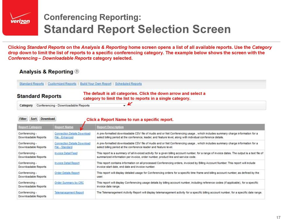The example below shows the screen with the Conferencing Downloadable Reports category selected. The default is all categories.