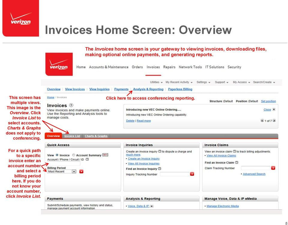 Click Invoice List to select accounts. Charts & Graphs does not apply to conferencing.