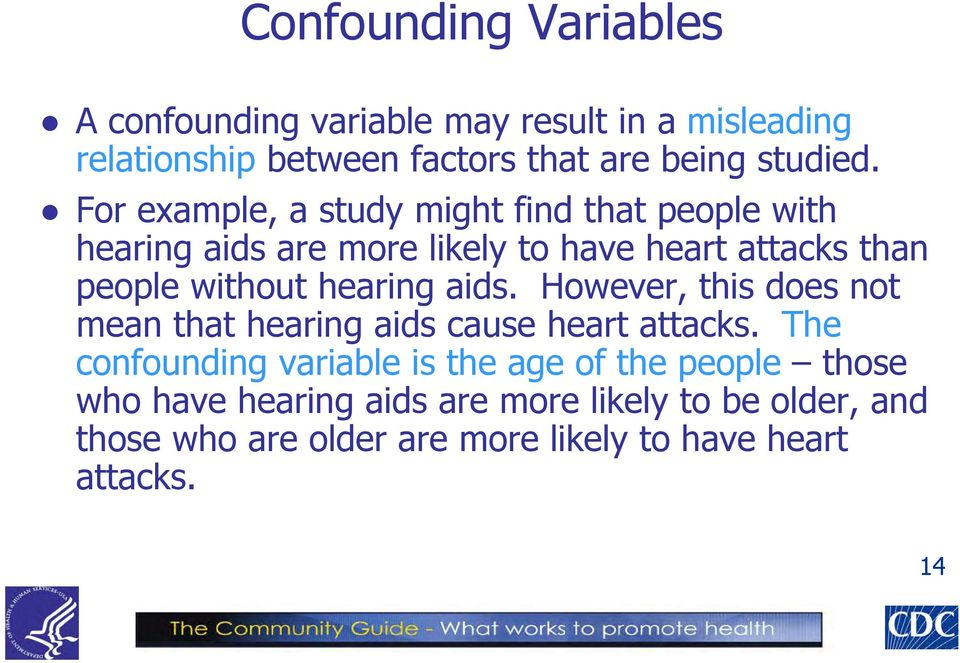 hearing aids. However, this does not mean that hearing aids cause heart attacks.