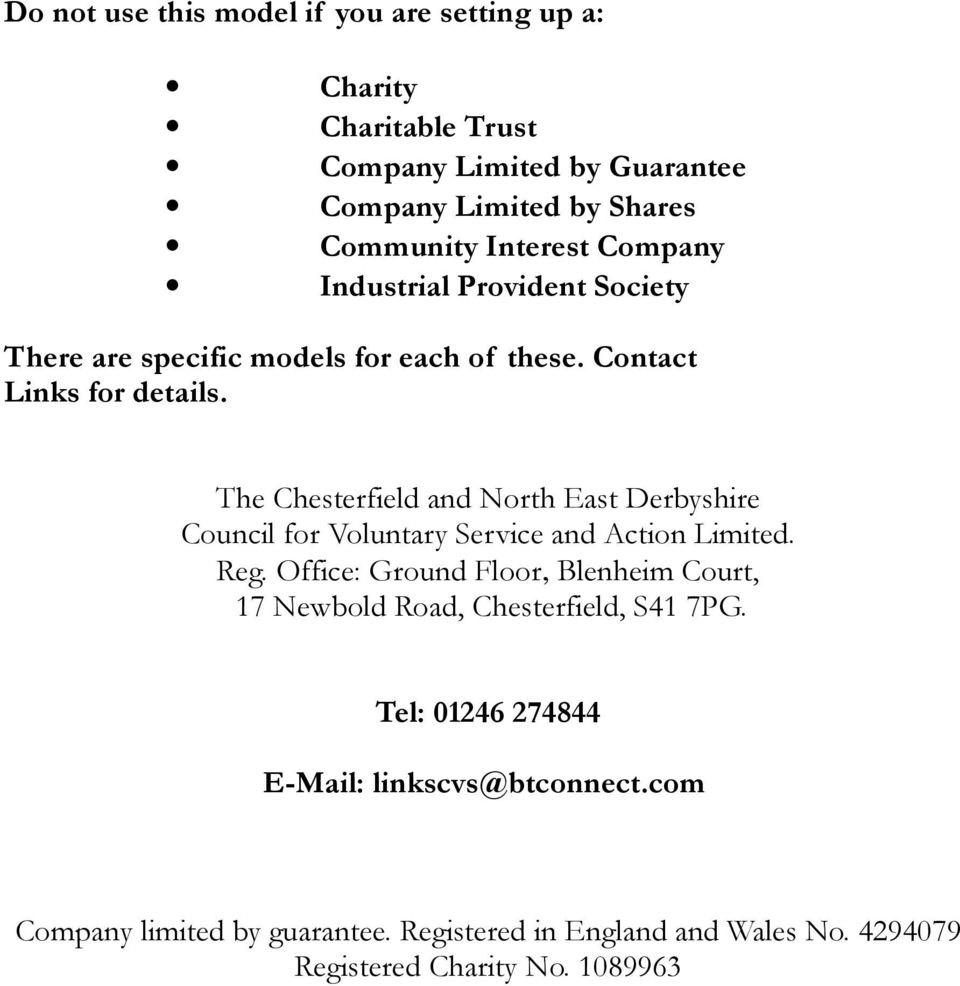 The Chesterfield and North East Derbyshire Council for Voluntary Service and Action Limited. Reg.