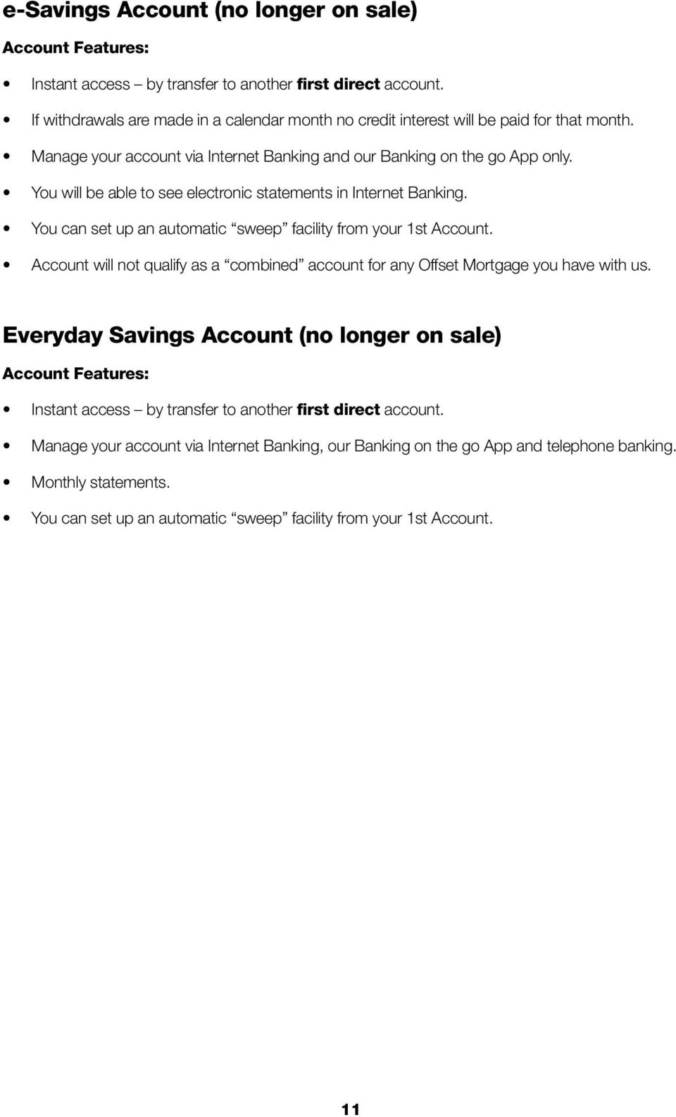 Everyday Savings Account (no longer on