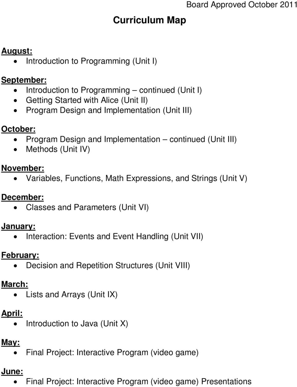 V) December: Classes and Parameters (Unit VI) January: Interaction: Events and Event Handling (Unit VII) February: Decision and Repetition Structures (Unit VIII) March: Lists