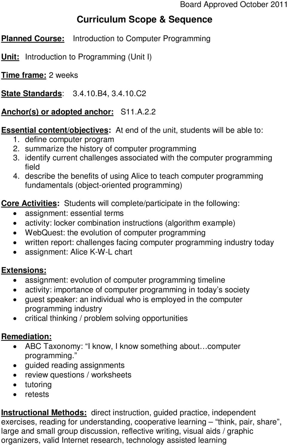summarize the history of computer programming 3. identify current challenges associated with the computer programming field 4.