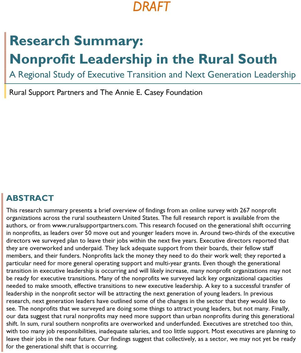 The full research report is available from the authors, or from www.ruralsupportpartners.com.