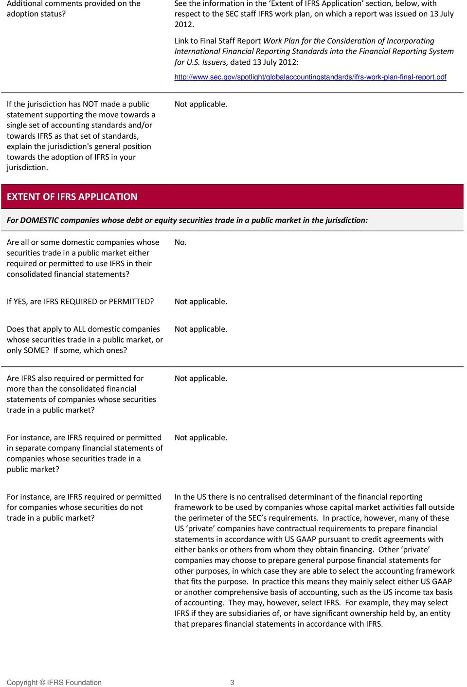 Link to Final Staff Report Work Plan for the Consideration of Incorporating International Financial Reporting Standards into the Financial Reporting System for U.S. Issuers, dated 13 July 2012: http://www.