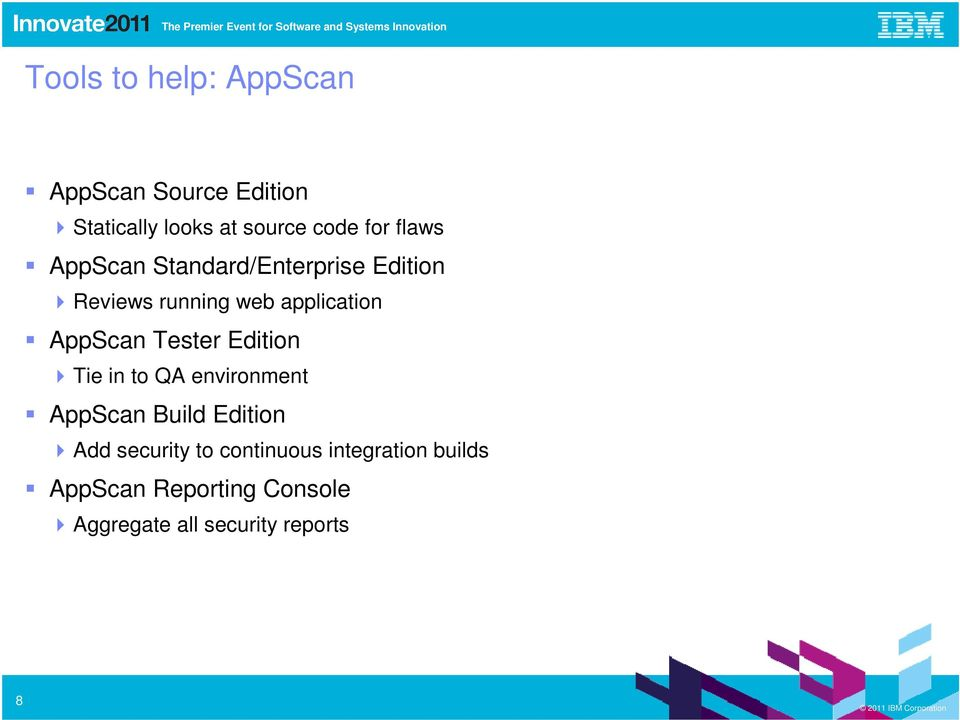 Tester Edition Tie in to QA environment AppScan Build Edition Add security to