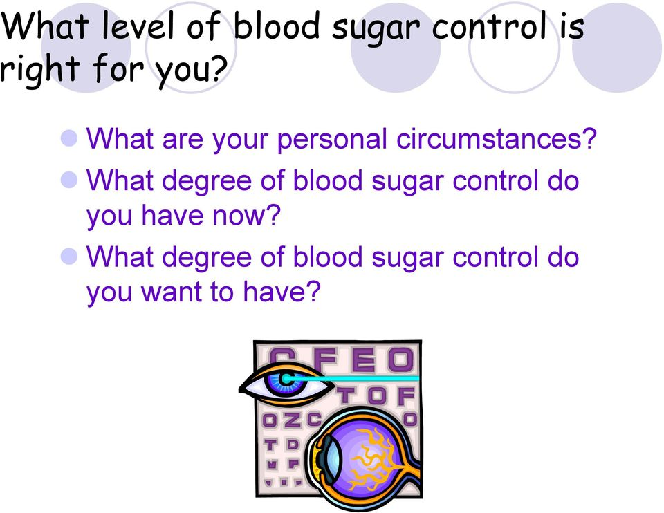 What degree of blood sugar control do you have
