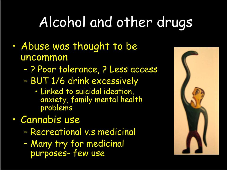 Less access BUT 1/6 drink excessively Linked to suicidal