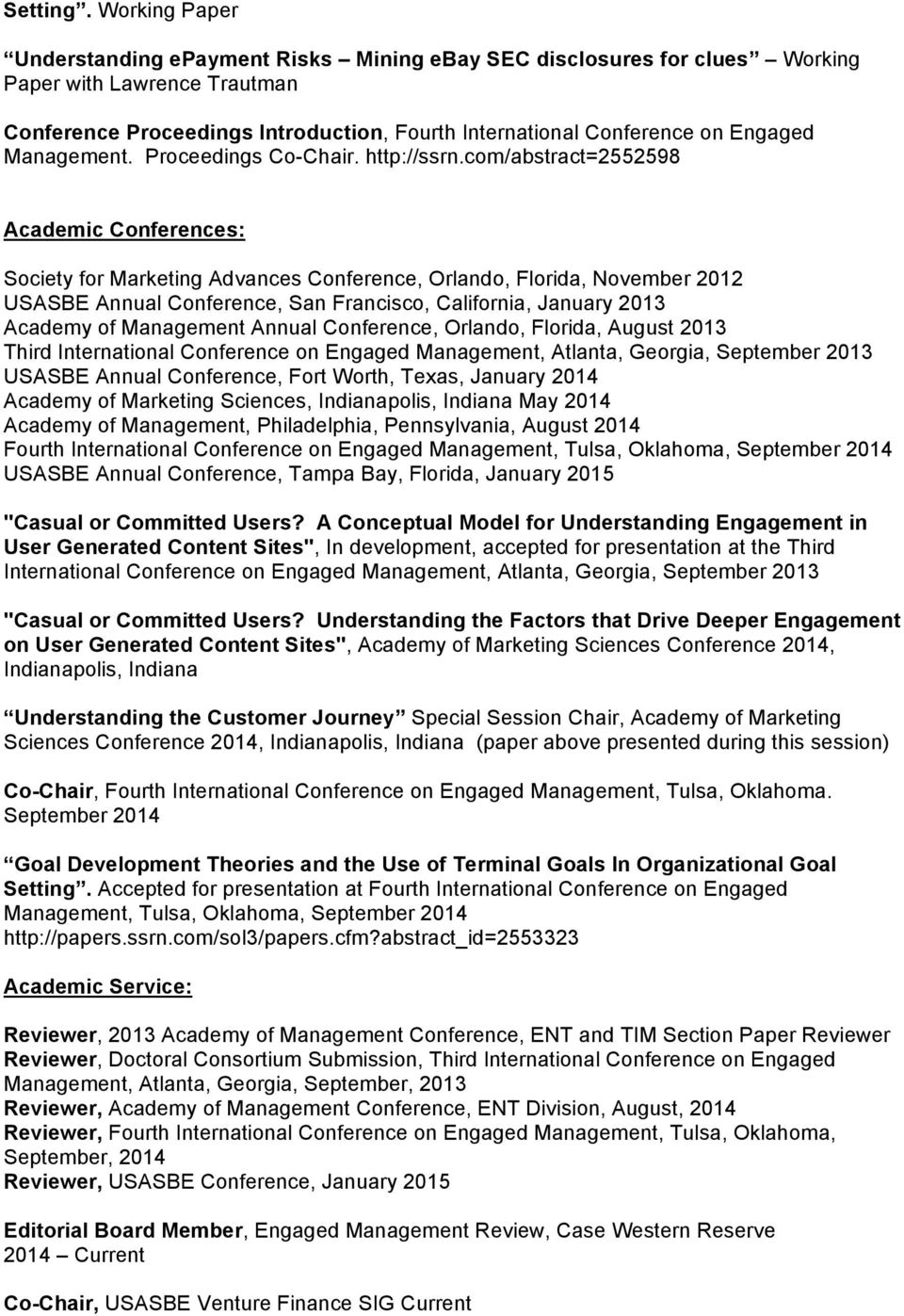 Management. Proceedings Co-Chair. http://ssrn.