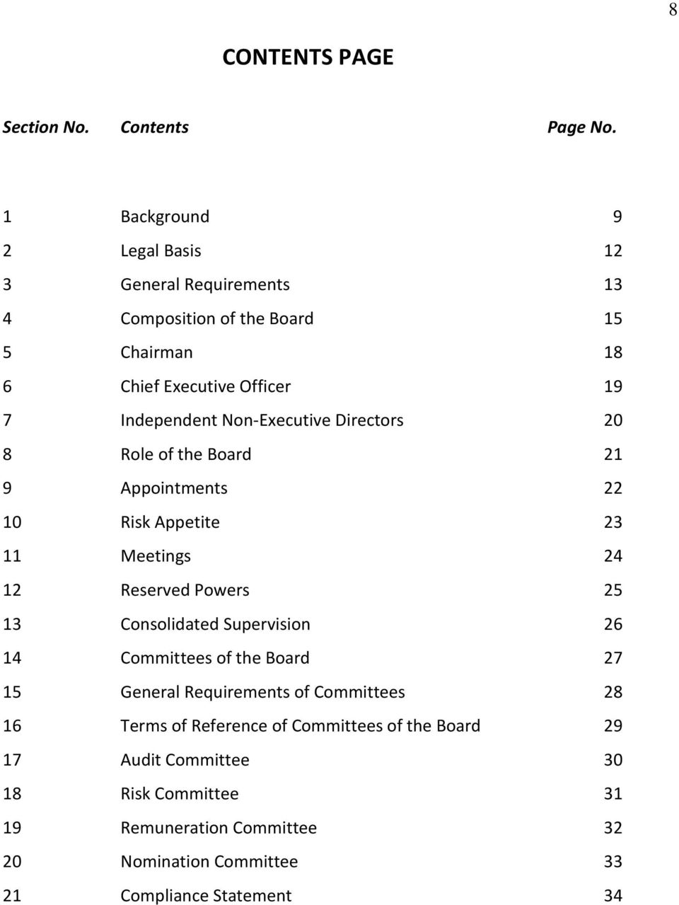 Non-Executive Directors 20 8 Role of the Board 21 9 Appointments 22 10 Risk Appetite 23 11 Meetings 24 12 Reserved Powers 25 13 Consolidated