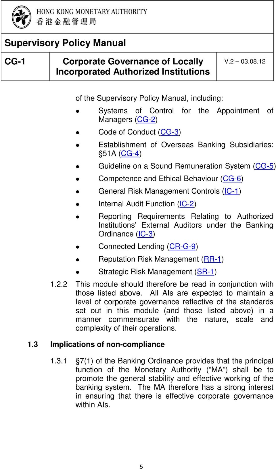 Institutions External Auditors under the Banking Ordinance (IC-3) Connected Lending (CR-G-9) Reputation Risk Management (RR-1) Strategic Risk Management (SR-1) 1.2.