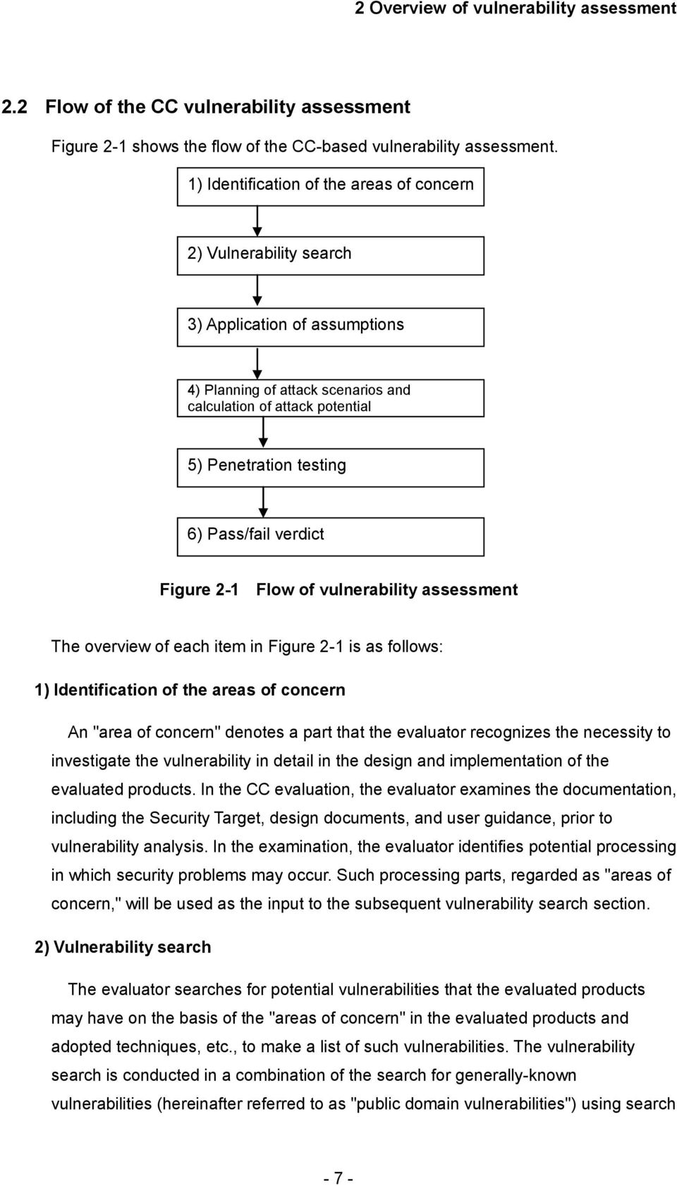 "verdict Figure 2-1 Flow of vulnerability assessment The overview of each item in Figure 2-1 is as follows: 1) Identification of the areas of concern An ""area of concern"" denotes a part that the"