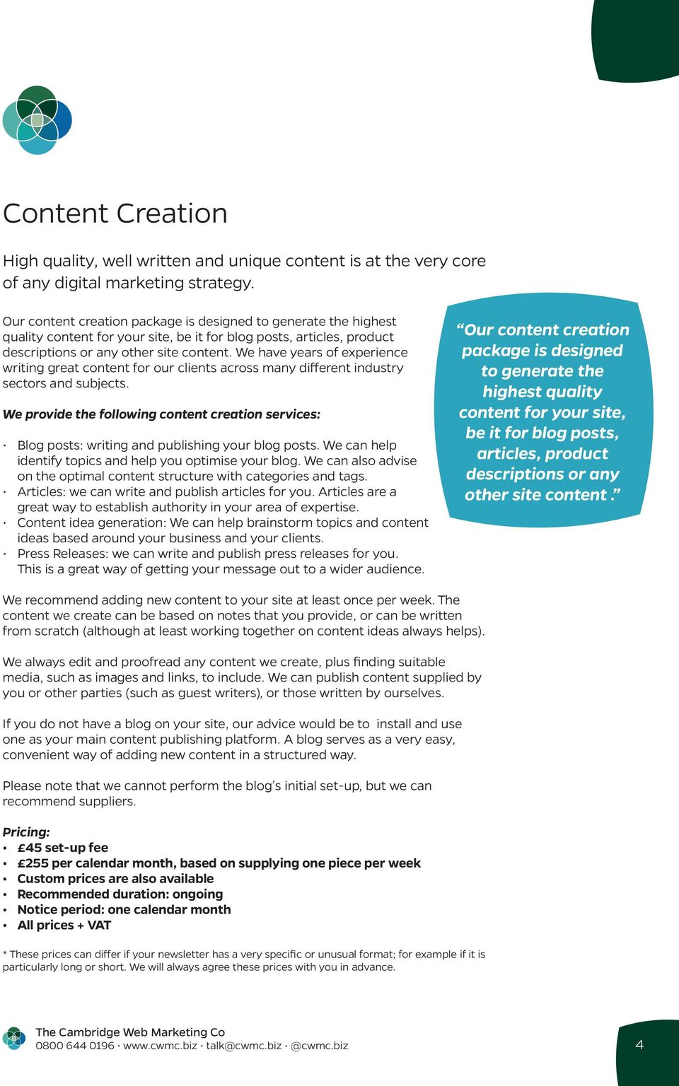 We have years of experience writing great content for our clients across many different industry sectors and subjects.