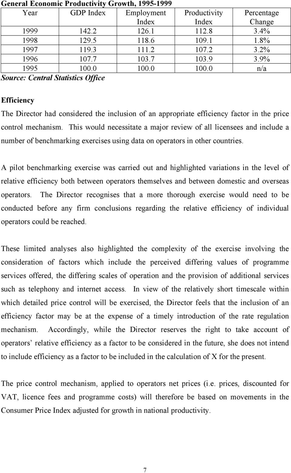 0 100.0 n/a Source: Central Statistics Office Percentage Change Efficiency The Director had considered the inclusion of an appropriate efficiency factor in the price control mechanism.