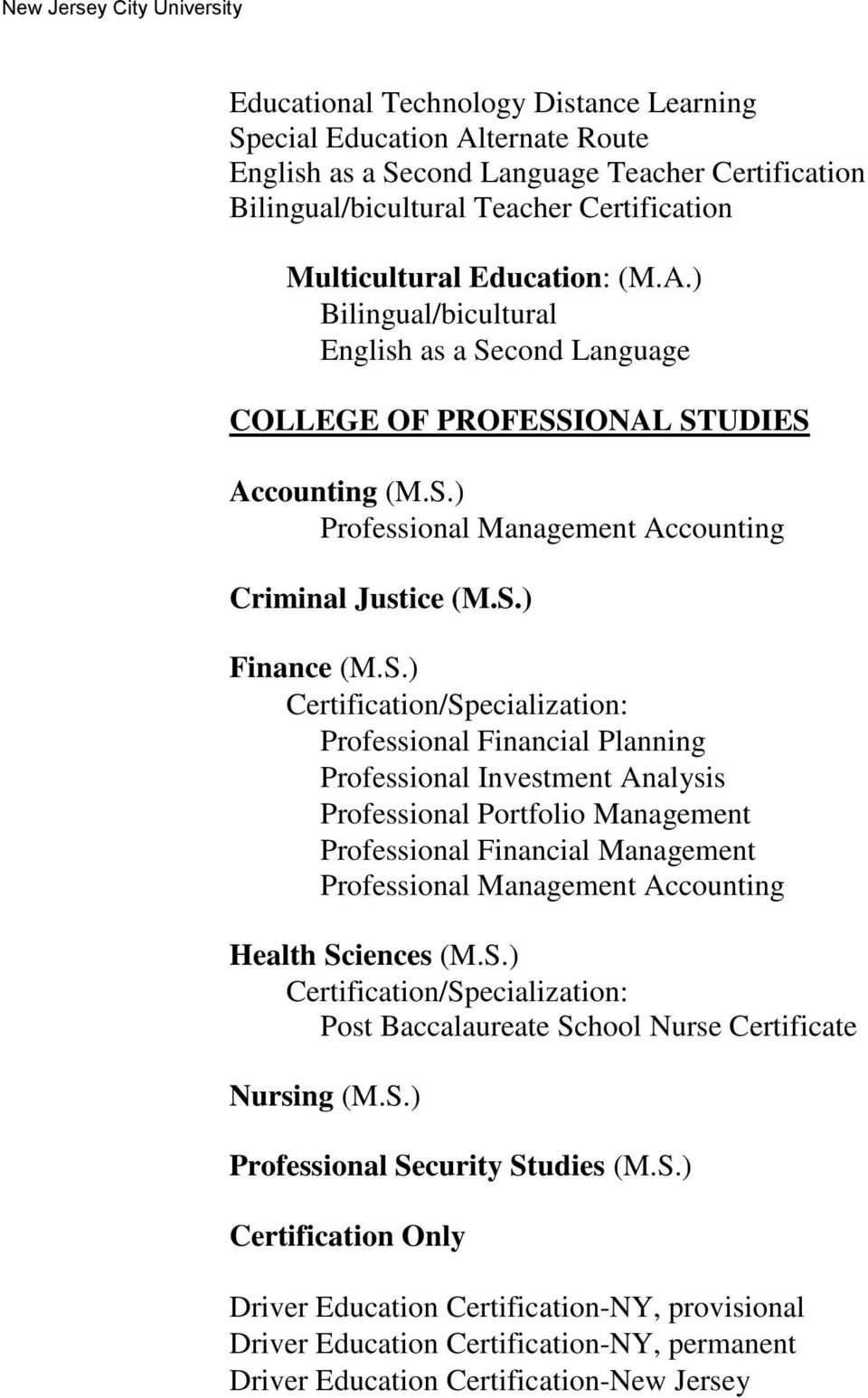 S.) Post Baccalaureate School Nurse Certificate Nursing (M.S.) Professional Security Studies (M.S.) Certification Only Driver Education Certification-NY, provisional Driver Education Certification-NY, permanent Driver Education Certification-New Jersey