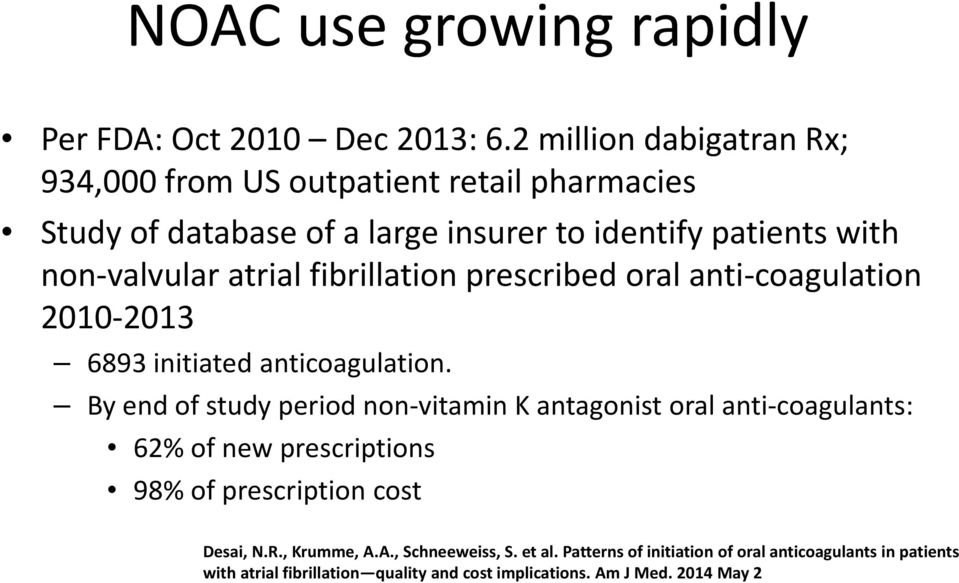 atrial fibrillation prescribed oral anti coagulation 2010 2013 6893 initiated anticoagulation.