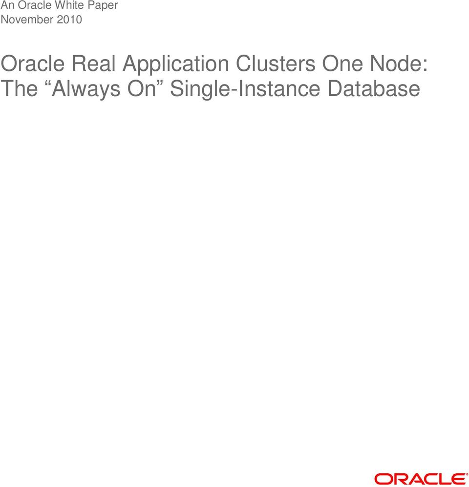 Application Clusters One