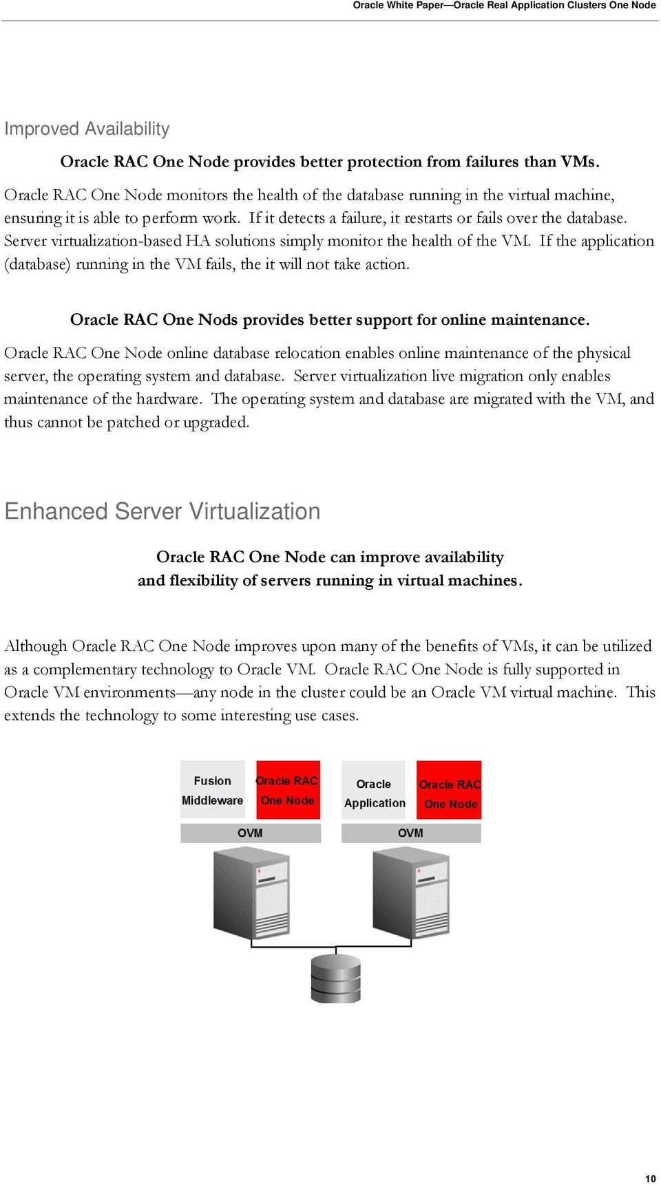 Server virtualization-based HA solutions simply monitor the health of the VM. If the application (database) running in the VM fails, the it will not take action.